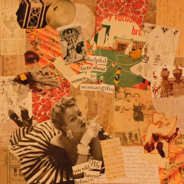 Now Let Us Turn To The Women's Page. Collage with magazine pages,found images,fine art papers on canvas.