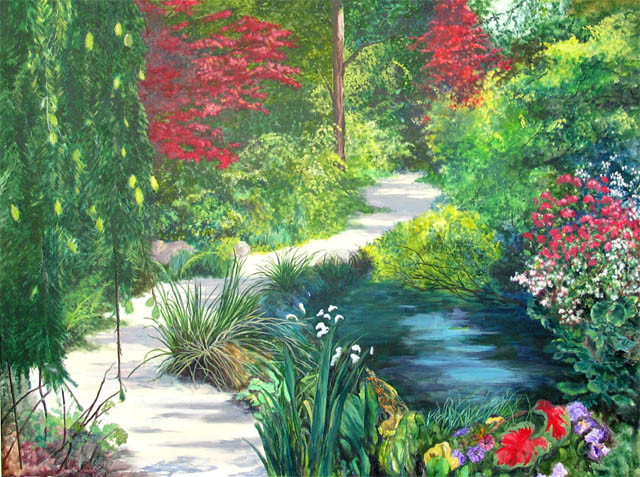 Along the Garden Path.Acrylic.36×48.
