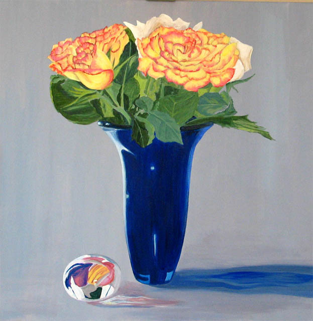 Blue Vase with Paperweight.Acrylic.24×24.