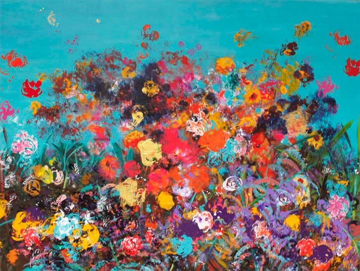 Circumstantial Garden.Acrylic.36 x 48.