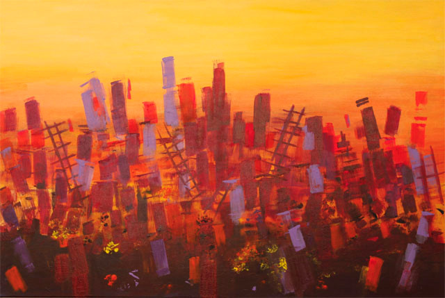 City Business.Acrylic on Canvas.24 in x 36 in.
