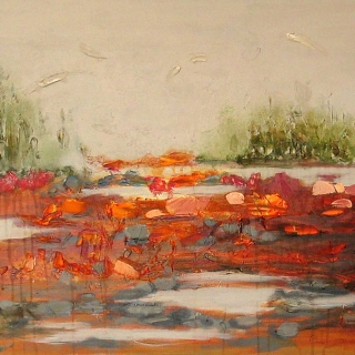 Landscape Under Gray. Acrylic and Mixed Media. 24 in x 36 in.