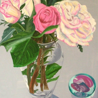 PINK AND WHITE ROSES WITH PAPERWEIGHT..Acrylic.28×22.