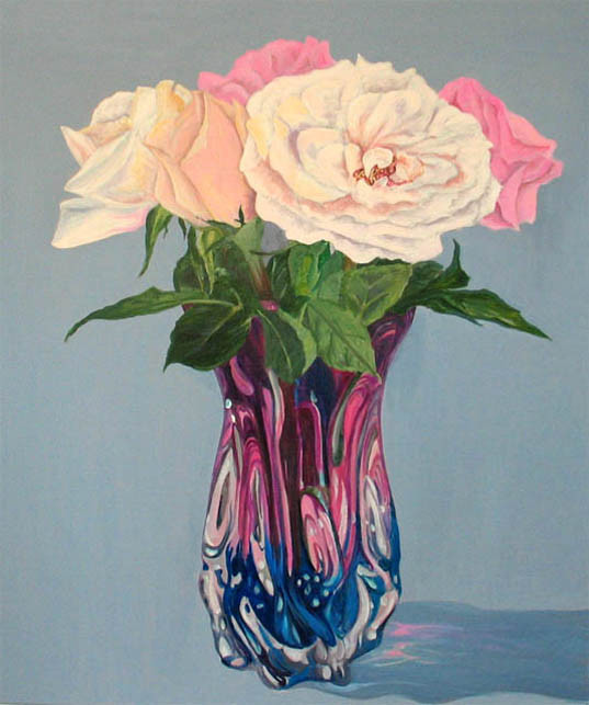 ROSES IN PINK AND BLUE VASE.36×30.Acrylic.