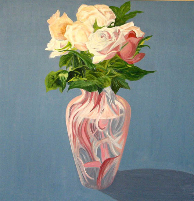 ROSES IN PINK AND WHITE VASE.Acrylic.24×24.