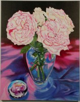 STILL LIFE WITH WHITE ROSES.acrylic.30×24