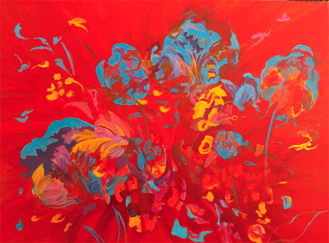 Tulip Smash.Acrylic on Canvas.30 in x 40 in.