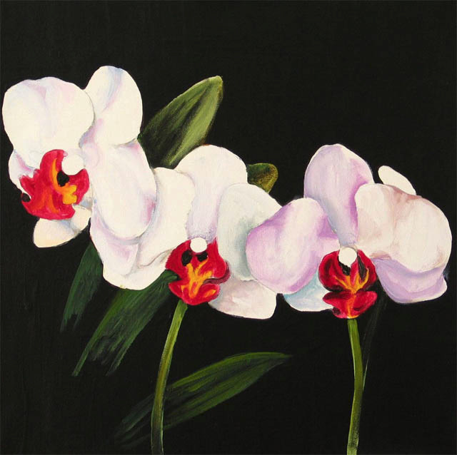 White Orchid 5.Acrylic.16×16.