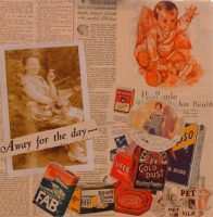 Away For The Day.Collage with magazine pages, photographprinted on standard printer paper. 12 in x 12 in.