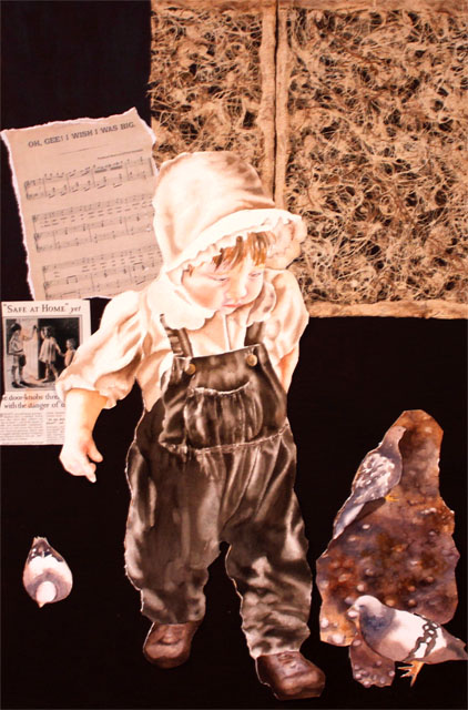 Oh I Wish I Was Big.Collage with watercolour paint on 300 lb Arches watercolour paper, magazine pages, fine art paper, vintage song sheet, on painted canvas.36 in x 24 in.
