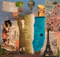 She Stepped Out Her Door. 12 in x 12 in. Collage, mixed media, acrylic on canvas.