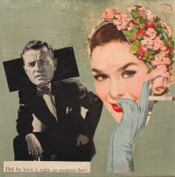 Suspicion.Collage with magazine pages and acrylic paint with fine art paper. 12 in x 12 in
