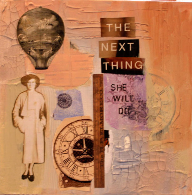 The Next Thing She Will Do.Collage.12 in x 12 in.