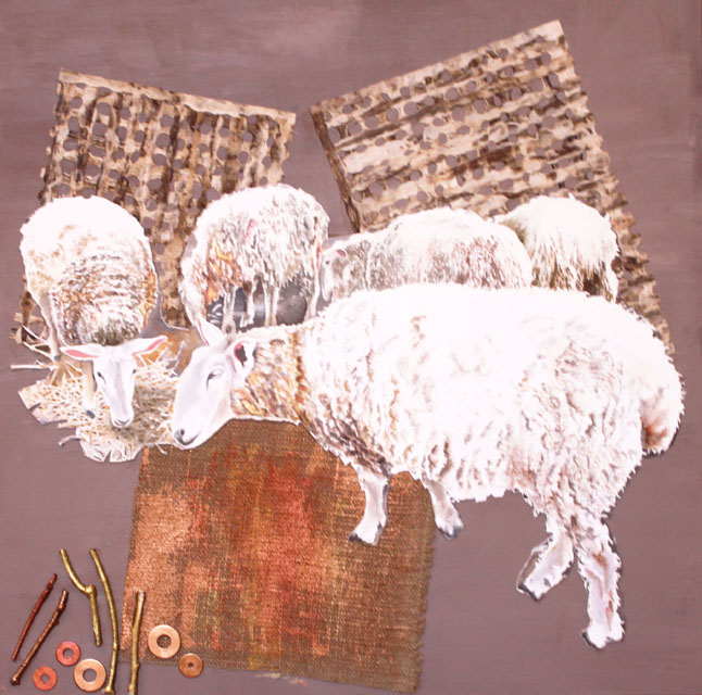 The Sheep May Safely Graze.Collage assemblage with mixed media.30 in x 30 in