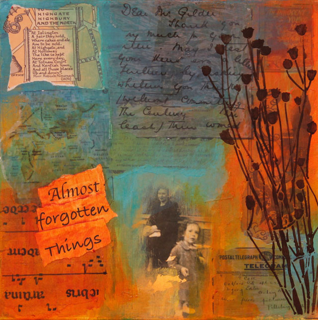 Almost Forgotten Things.Collage with found images and mixed media.12 in x 12 in