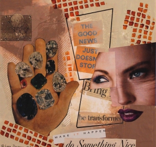 Do Something Nice.Collage with magazine pages and mixed media on canvas.12 in x 12 in