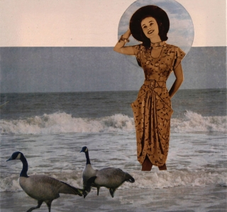 Gimme That Island Breeze.Collage with magazine page and artist's original photography.8 in x 8 in