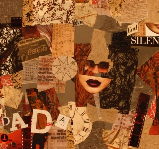 OF DADA. Collage with fine art papers, magazine pages, photographic negatives, acrylic paint on gallery style canvas.20 in x 24 in.Dockrill