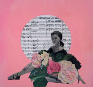Rhapsody with Roses.Collage with magazine image,photograph of original floral painting and vintage music sheet on painted canvas.12 in x 12 in