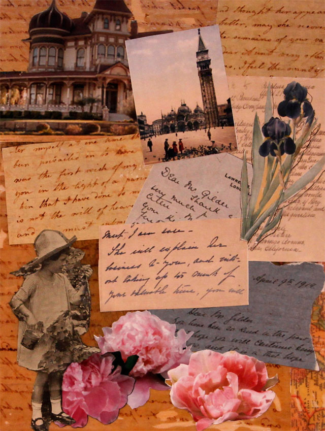 She Tended Her Garden.Collage with found images and artist's photography.12 in x 9 in