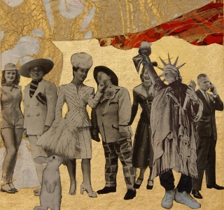 The Entire Cast.Collage with found images and fine art papers