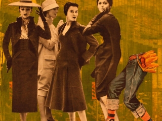 The fashion show began like most others.Collage with magazine pages and phototransfered images.12 x 12.Dockrill