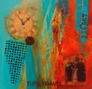 Time Travel .Collage with found images and mixed media on canvas.16 in x 16 in