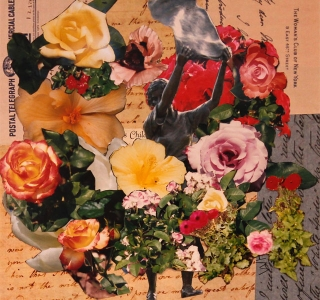 Why You Should Tend Your Garden.Collage with found images and artist's photography on birch panel.10 in x 10 in