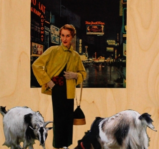 Woman in Manhattan with Her Goats circa 1948. Collage with found images on unpainted birch panel.10 in x 14 in