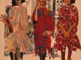 it was a fashion show like you have never seen before believe me. Collage with artist's own digital prints, phtotransfer and magazine pages.12in x 12 in