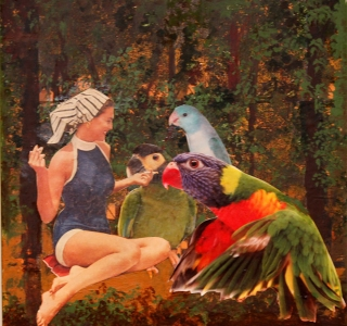 it's just girl talk.Collage over painted and phototransfered background