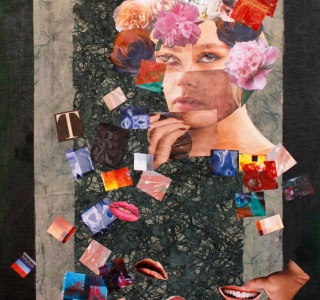 we sometimes need a change of face..Collage with found images and fine art papers on painted birch panel.20 x 16 in